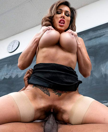 Aubrey Black big tits bouncing as she fucks Isiah Maxwell after school